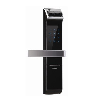 A Smart Home door lock with pin code display, biometric access and a traditional keyhole for key access