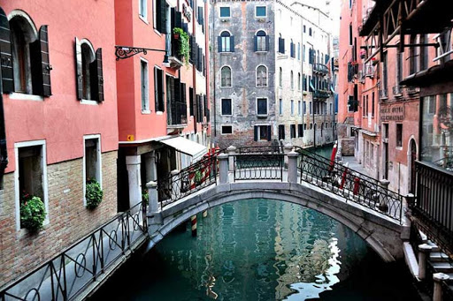 A view of one of the many waterway paths in Venice, Italy