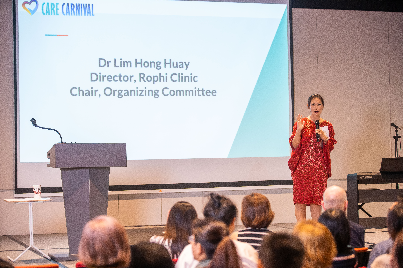 Dr Lim Hong Huay giving a talk at Care Carnival 2019