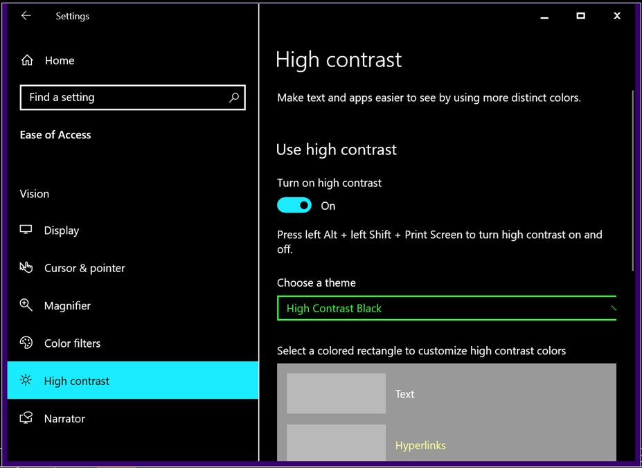 Screenshot of accessibility option to set high contrast of display.