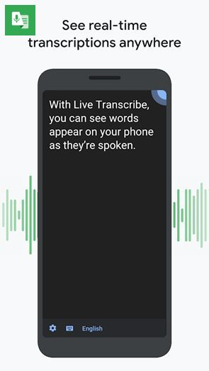 "Screenshot of Google's Live Transcribe app for Android, with title, ""See real-time transcriptions anywhere"". It shows Android smartphone showing on its screen - ""With Live Transcribe, you can see words appear on your phone as they're spoken."""