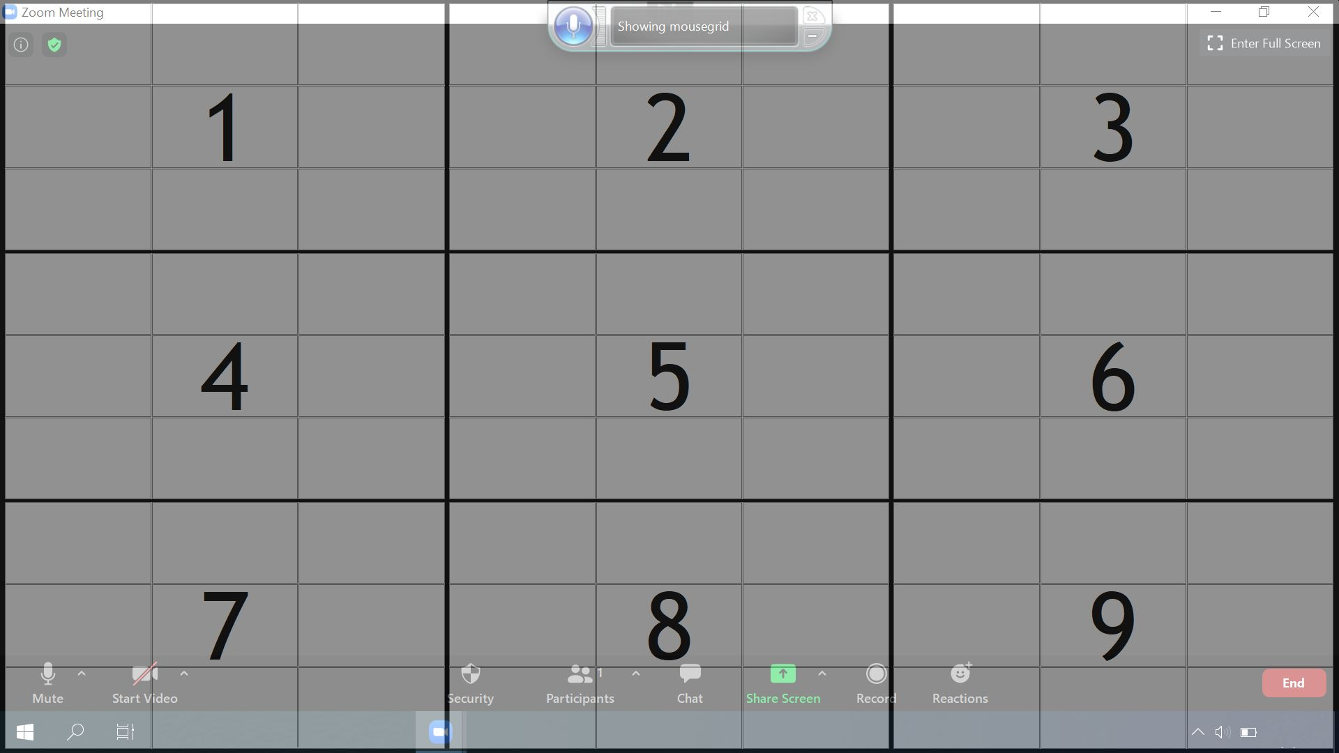 Screenshot of MouseGrid after launching it in Windows Speech Recognition app with voice control. The Mousegrid shown consists of 9 grids of 3 by 3, numbered with 1 to 9, representing the respective areas on the screen.