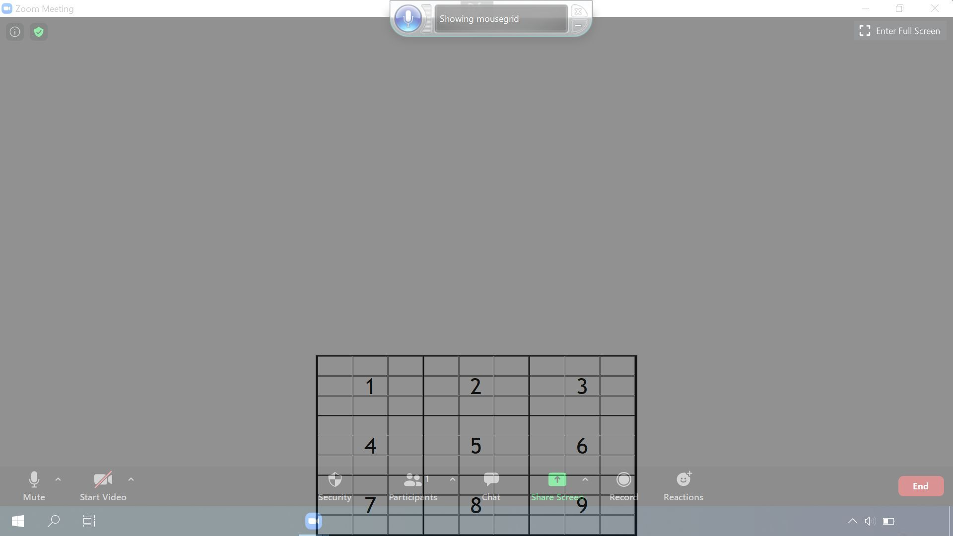 Screenshot of a smaller MouseGrid after zooming into it with voice control by selecting a grid number.