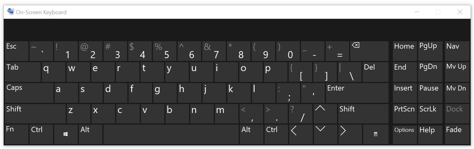 "Screenshot of an on-screen keyboard which has the similar ""QWERTY"" layout as a physical keyboard."