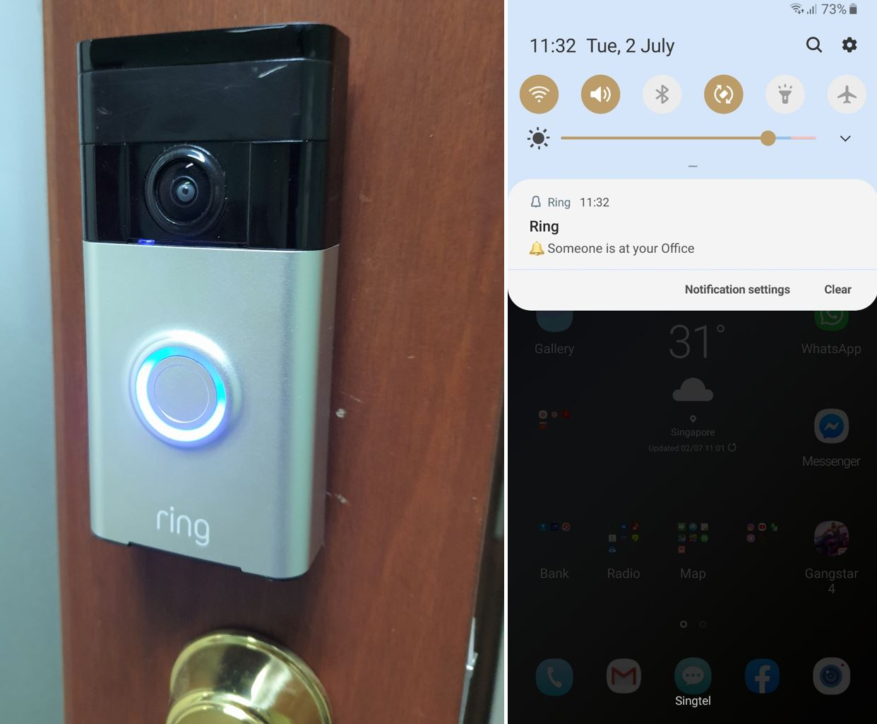 Doorbell linked to smartphone, screenshot of notification that doorbell is ringing and someone is at the office.