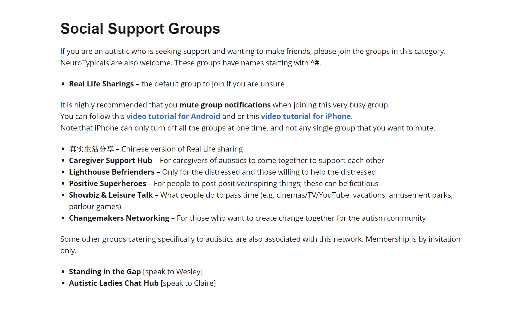 A screenshot of various social support groups in the WhatsApp Autism Community Singapore chat group, which includes Caregiver Support Hub, Changemakers Networking, and Lighthouse Befrienders