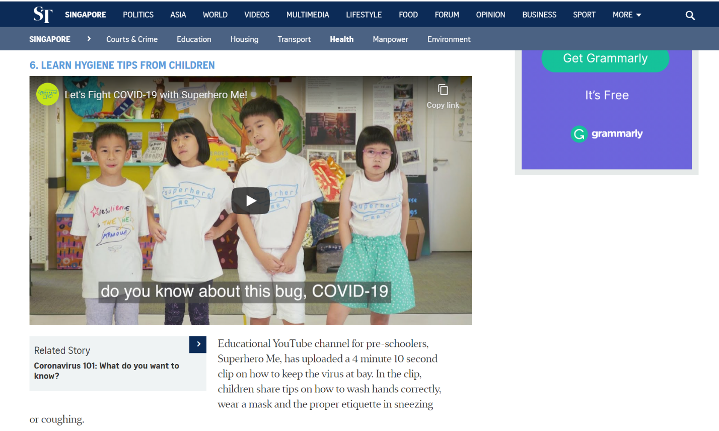A screenshot of The Straits Times website showing a video link to a clip used in the COVID-19 Toolkit that explains what COVID-19 is.