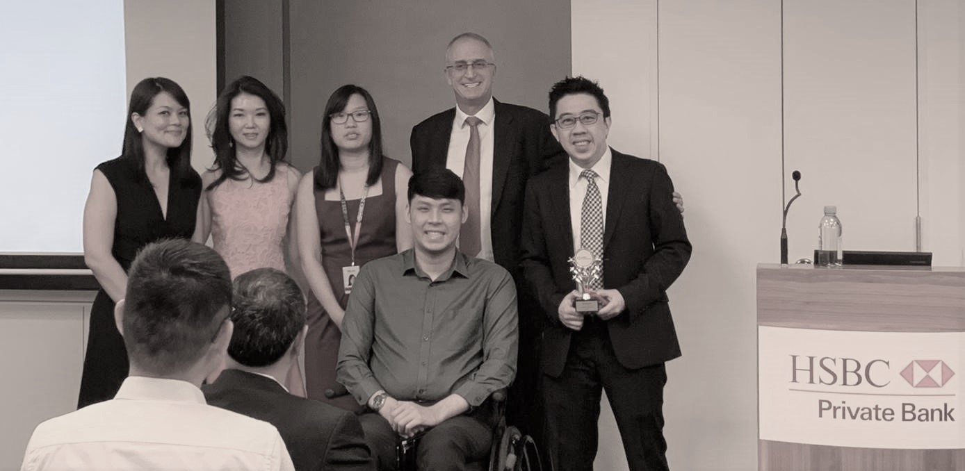 George (right) and Alwyn (3rd from right) with colleagues.