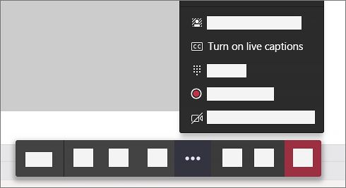Screenshot of Microsoft Teams's option to turn on the live captions in a meeting.
